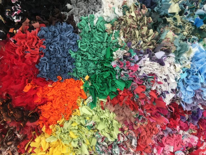 Image of Multi coloured prodded rag rug made by Alison Bailey Smith